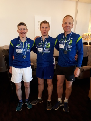 John McClafferty, Darren Murray and Noel McGarvey after completing this years Dublin Marathon
